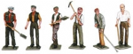 Peco OP-11 Workmen with Tools (x 6) White Metal (unpainted)